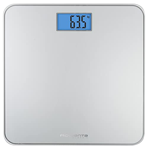 Rowenta Premiss BS1500 - Bilancia da bagno con display LCD, compatta, capacità di 160 kg, piattaforma in vetro e spegnimento automatico con batterie, colore: nero