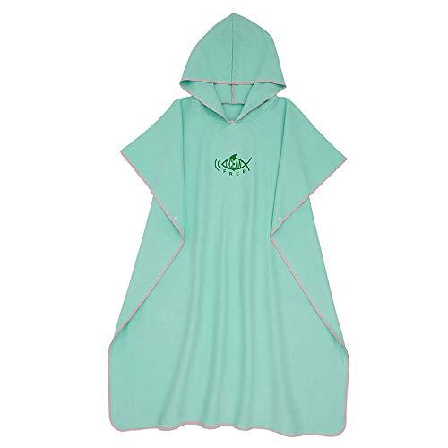 Poncho Surfhanddoek van microvezel voor volwassenen, badjas met capuchon voor het strand, bad, surf, voor dames en heren, sneldrogend (groen)