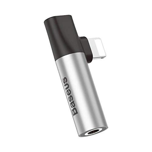 LJ2 Adaptador de Carga de Auriculares auxiliares, Adaptador de Conector Lightning 2 a 1 de 3,5 mm Cable de Audio Compatible con Sistema iOS 10~12 / Ipxs/IP Xsmax/Ipxr,C