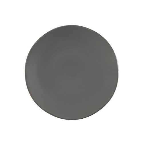 Fortessa Vitraluxe Dinnerware Heirloom Matte Finish Dinner Plate 10.75-Inch, Charcoal, Set of 4