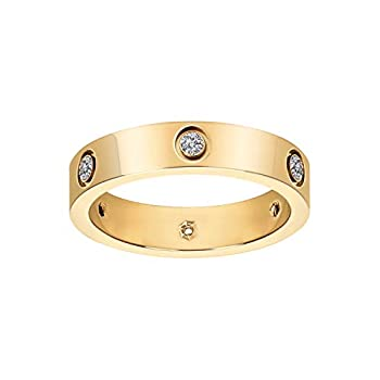 Fashion Classic 18K Gold Plated Titanium Steel Women Ring Best Gifts Couples Valentine s Day  Gold 10