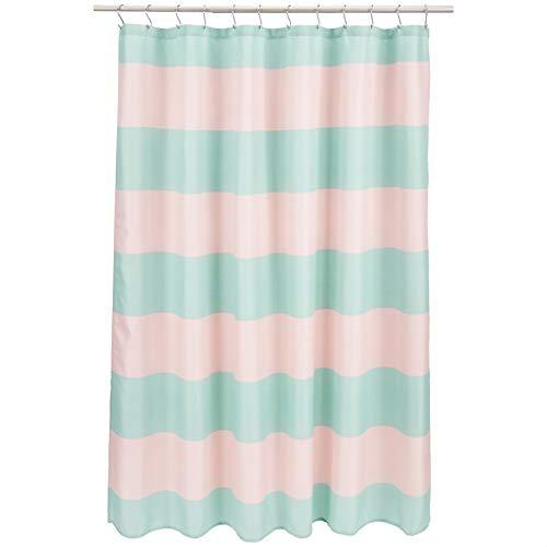 Amazon Basics Kids Bathroom Shower Curtain - Pink/Mint Rugby Stripe, 72 Inch