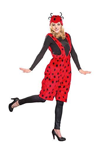 Generique Marienkäfer-Kostüm für Damen Latzhose Plüsch XL