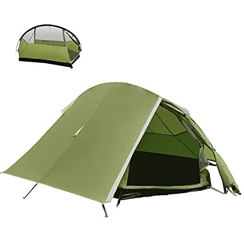 BACKTURE Campingzelt, Ultraleichte 1-2 Personen Campingzelt Wasserdicht UV-Schutz, Sekundenzelt Doppeltür Belüftet Zelte, Outdoor/Camping Campingzelt mit Tragetasche für Trekking, Camping Festival