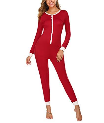 Einteiler Schlafoverall Damen Warm Schlafanzug Winter Langarm Kuschelig Jumpsuit und Elegant Pyjama Overall für Frauen in rot M