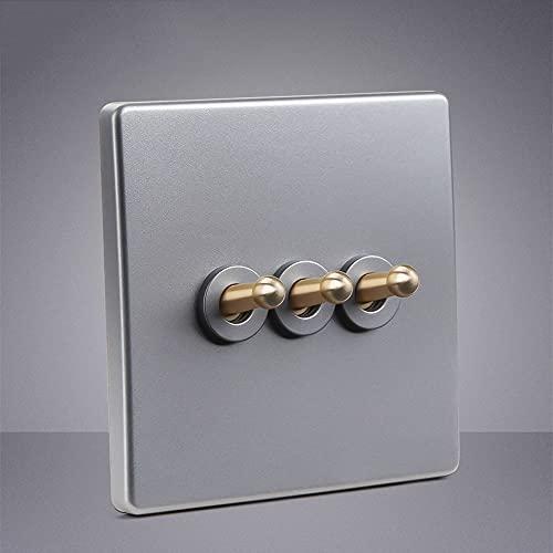 1-4 Gang Interruptor De Lámpara De Control Doble Simple De 2 Vías 86 Tipo Interruptor De Pared De Palanca Retro Panel De Interruptor De Decoración De Pared Minimalista Moderno Palanca De Latón