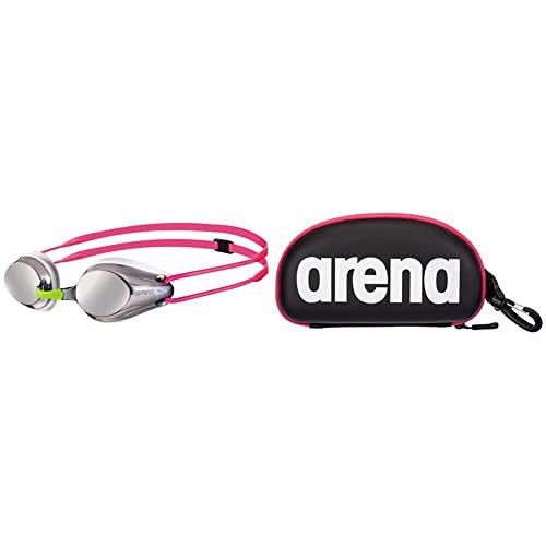 ARENA Tracks Junior Mirror Gafas de Natación, Unisex Adulto, Plateado + 000001E048-509 Estuche para Gafas de natación, Unisex Adulto, Negro/Fucsia (Black White Fuchsia), Universal