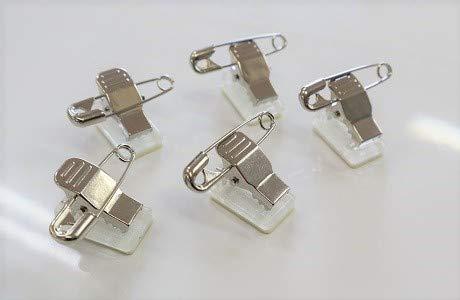 名札 バッヂ ワニ口クリップ クリップ 安全ピン付 両面テープ付 18mm*11mm 100個入