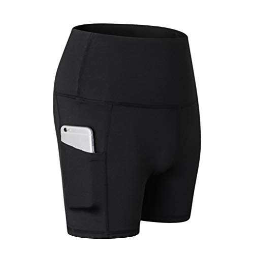 TENDYCOCO Vrouwen Hoge Taille Workout Shorts Zijzak Shorts voor Training Yoga Gym - Maat S Zwart