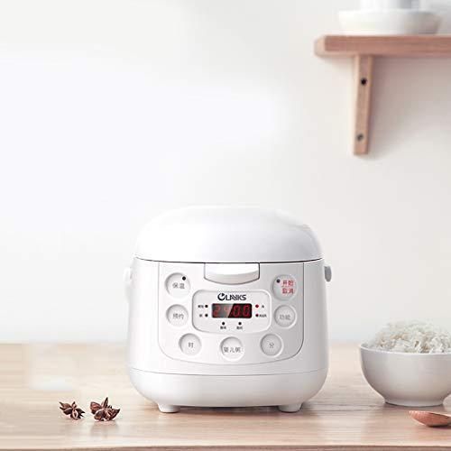Witte mini-reismaker met timer, inductieverwarmingssysteem rijstkoker en warmer, rijstkoker met anti-aanbaklaag, binnenpan van aluminiumlegeringsstaal