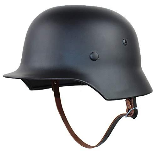 Casco, Todo Acero Segunda Guerra Mundial Casco clásico alemán Protección de Seguridad Cascos al Aire Libre Casco Harley Cascos para Adultos,A