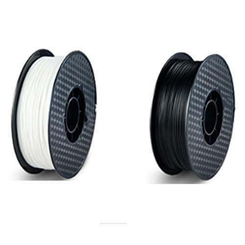 JRUIAN Printer Accessories 3D Printer Filament PLA 75mm Printing Filament Consumable 3D Printer Filament (One Black and One White Total 2Kg)