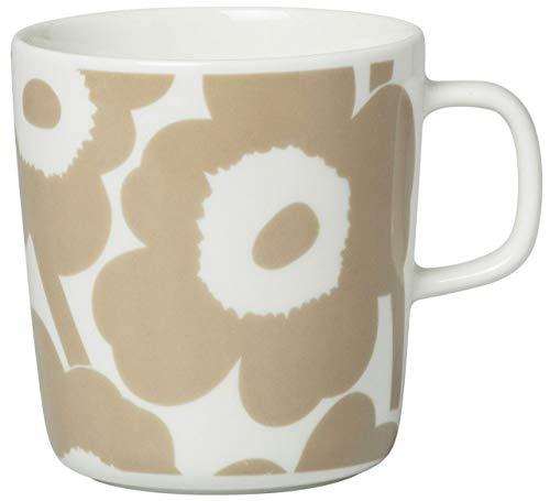 Marimekko - Unikko Mug - Tasse / Kaffeetasse - Steinzeug - Weiss / Beige - (DxH) 9,5 x 10cm - Volumen: 400ml