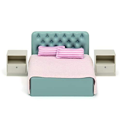Lundby 60-306400 - Schlafzimmer Puppenhaus - Möbelset 6-teilig - Puppenhauszubehör - Möbel - Schlafzimmerset - Doppelbett - Bett - Bettwäsche - Zubehör - ab 3 Jahre - Minipuppen 1:18