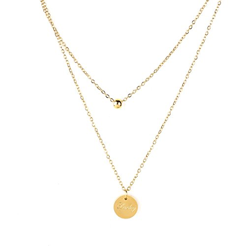 United Elegance Stylish Gold Tone Dual Strand Designer Necklace with Delicate Lucky Engraved Charm Pendant