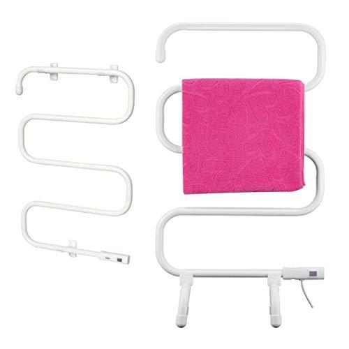 EEUK Radiador de toallas, toallero de pie y calefacción eléctrica de pared, 100 W, para baño, enchufe europeo de color blanco
