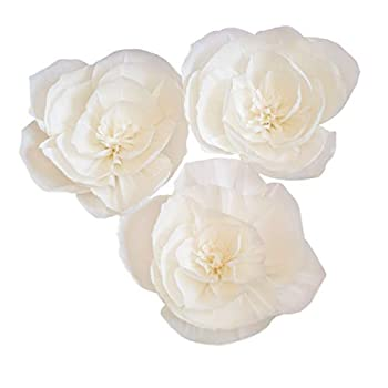 3PCS Crepe Paper Flowers Paper Flower Decoration Handcrafted Flowers Party Wedding Backdrop Flower for Nursery Baby Showers Birthday Photo Backdrop Bridal Shower Centerpiece  8inch White