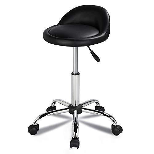 Yaheetech 1/2 Tabouret de Travail à roulettes Réglable Pivotant Chaise pour Salon Message Esthétique Coiffure Siège Rembourré avec Dossier