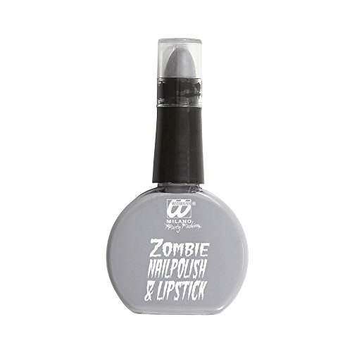 Widmann 01152 - nagellak en lippenstift set voor zombie, grijs