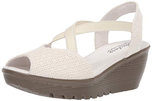 Skechers Women's Parallel-Peep Toe Gore Slingback Wedge Sandal