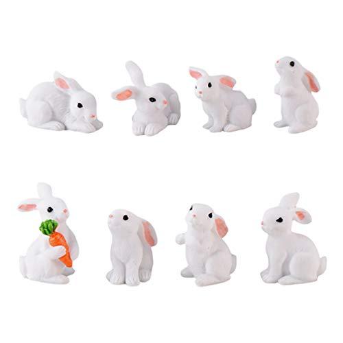 SOIMISS Mini Hase Figur Ostern Kaninchen Dekofigur Miniatur Osterhase Figur Tierfigur Blumentopf Ornament für Ostern Sukkulenten Pflanzer Mikrolandschaft Puppenhaus Deko 8 Stück (zufälliger Stil)