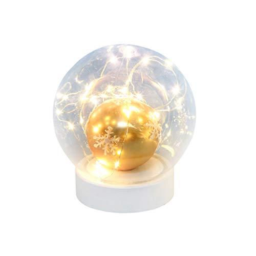 LIOOBO Weihnachtsglaskugel führte Lichtweihnachtsnachtlampe für Schlafzimmerkinderzimmerküchengarten modernes Glasdekorationsglashandwerk
