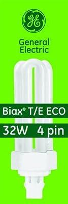 GE 97632 F32TBX/841/A/ECO 32-Watt Energy Smart Ecolux Triple Tube Compact Fluorescent Light Bulb, 4100K, 2400 Lumens, 82 CRI, T4 Shape, 4-Pin GX23q-3 Base