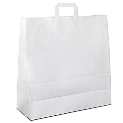 100 x Papier Tragetasche groß weiss 45+17x47 cm | stabile weiße Papiertüten | Paper Bag Flachhenkel | Papiertragetaschen Groß | HUTNER
