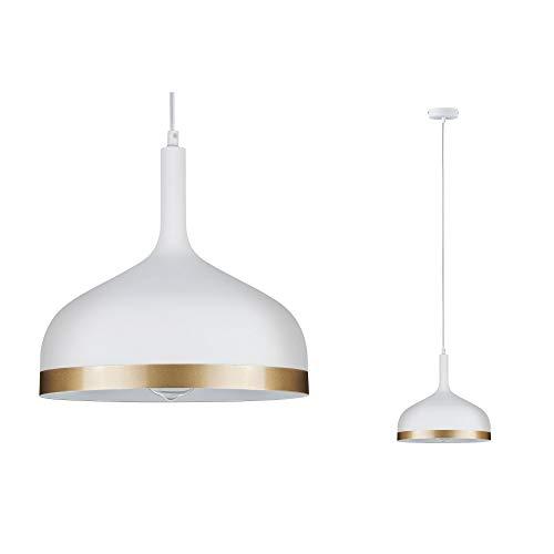 Paulmann 79628 Neordic Embla Pendelleuchte max. 1x20W Hängelampe für E27 Lampen Deckenlampe Weiß matt/Gold 230V Metall ohne Leuchtmittel
