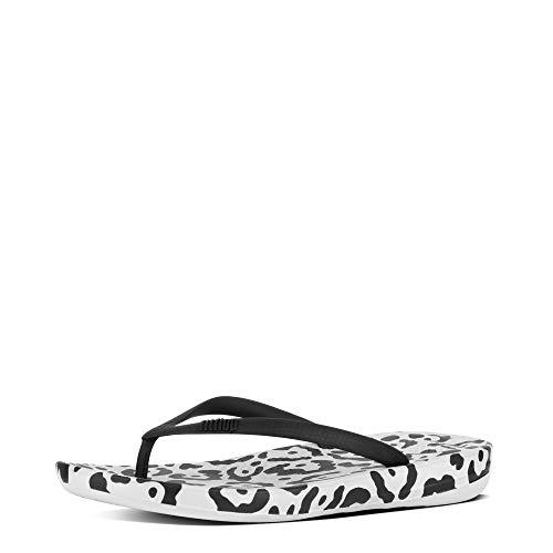 FitFlop Womens iQushion Ergonomic Flip Flops, Black Mix Leopard Print, US 8