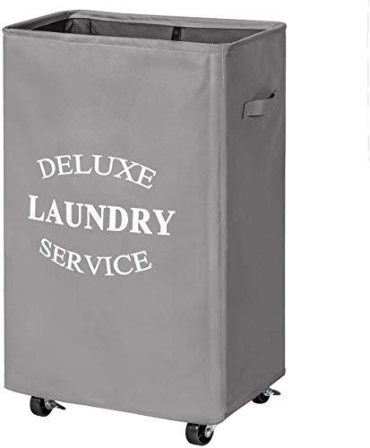Chrislley Cesto para la ropa sucia con ruedas de 90 litros, plegable, con ruedas, color gris