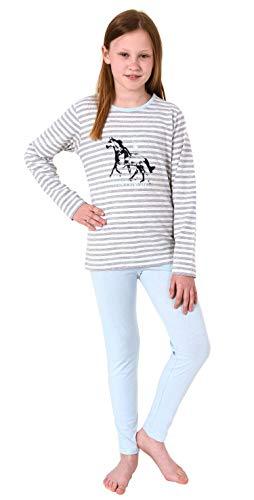 Süsser Mädchen Pyjama Langarm Schlafanzug mit Pferde Motiv - 102 401 10 801, Farbe:hellblau, Größe:146/152