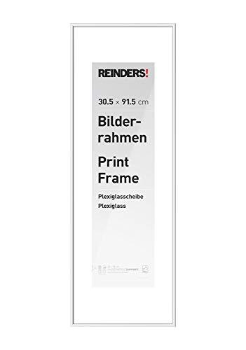 REINDERS Bilderrahmen Wechselrahmen Poster Weiß Kunststoff medium 30x91,5cm - 32 x 93 cm Wohnzimmer