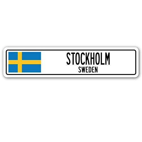 TND New Stockholm Schweden Straßenschild Schweden Flagge Stadt Land Straße Wand Straßenschild 10,2 x 40,6 cm