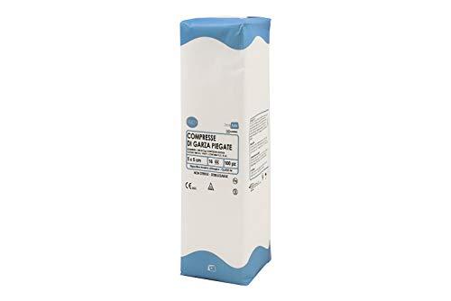 DEALFA Compresse di Garza Piegata. Garza Idrofila di Puro Cotone 100% per la Medicazione. Prodotto Monouso - cm 5x5 a 16 strati - Confezione da 100 pezzi