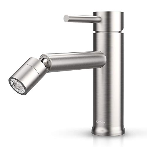 Bathroom Sink Faucet Single Hole Stainless Steel, Watersong Modern Bathroom Faucet Brushed Nickel,...