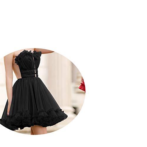 skirt Europäische Und Amerikanische Abendkleider, Kurze Braut Toast-Kleidung Mit V-Ausschnitt, Kleid Für Brautjungfer,Schwarz,S