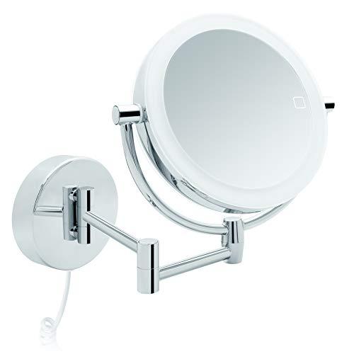 Libaro LED Kosmetikspiegel Modena Vergrößerungsspiegel (3X / 7X) 360° Schminkspiegel mit Wandmontage und Dimmerfunktion