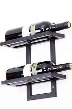Estante para Vino de Hierro para Colgar en la Pared Soporte Creativo para Botellas de Vino Soporte Simple para Vino Soporte para Vino Botellero 2-6 Botellas - 2 Botellas-Negro