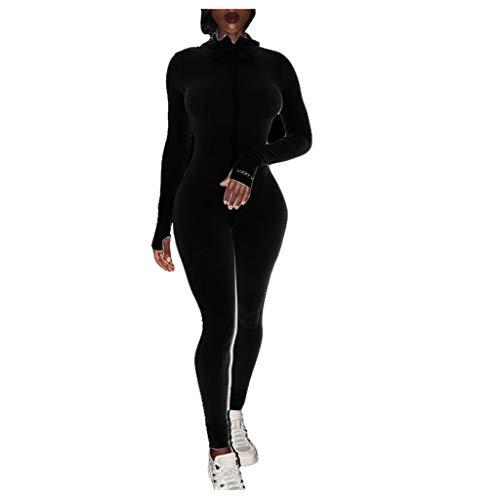 Kaister Damen Letter Print Zipper Jumpsuit Gerippter Strampler Sportlicher Fitness-Stick Overall