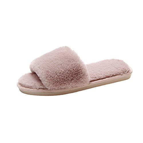 Zapatos Memory AlgodóN Pantuflas,Zapatilla y Patines cálidos, Felpa casera de algodón-Pink_36-37,CáLido Pantuflas Memoria Espuma