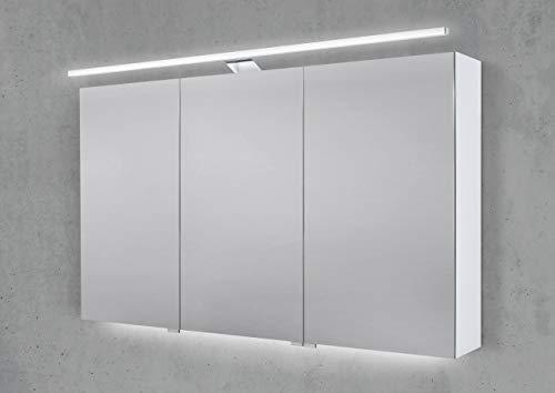 Intarbad ~ Spiegelschrank 120 cm mit LED Beleuchtung, Doppelspiegeltüren Weiß Matt IB1954
