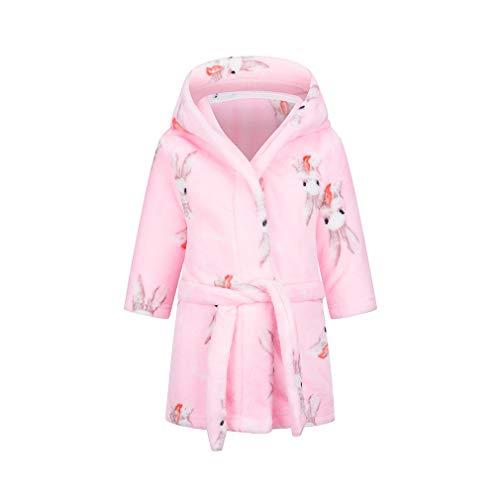 XINNE niño niña Suave Albornoz Lindo patrón Trajes niño bebé Franela con Capucha Pijamas Ropa de Dormir Lindo Conejo