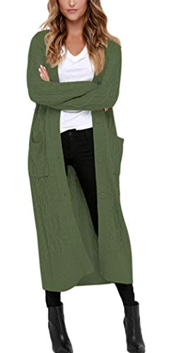 Aleumdr Strickjacke Strickmantel Damen Cardigan Mantel Lang Jacke Sweater Outwear Grobstrick,Dunkelgrün,XL