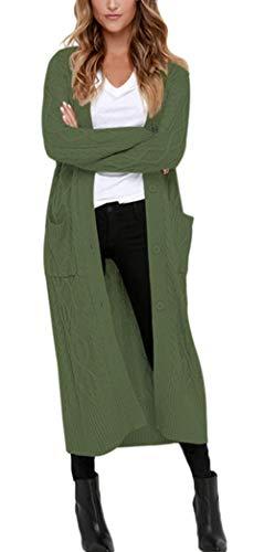 Aleumdr Strickmantel Strickjacke Damen Gestrickt Lose Cardigan Wintermantel Causal Cardigan Parkajacke Outwear mit Taschen und Langarm, Dunkelgrün, Medium (EU38-EU40)