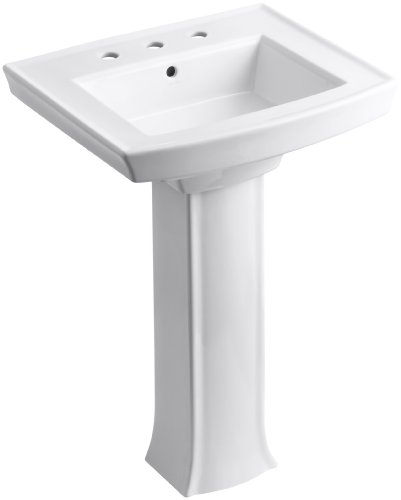 KOHLER K-2359-8-0 Archer Pedestal Bathroom Sink, White