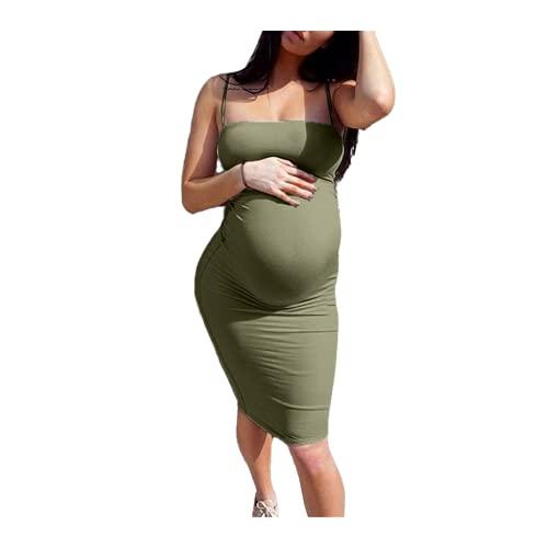 N\P Vestido de maternidad de verano para mujer, casual, sin mangas, embarazo, cuello