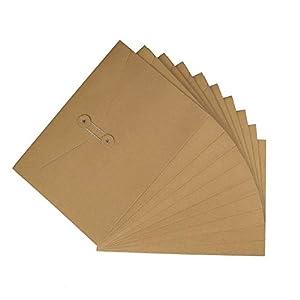 Carpetas de archivos de sobres de papel Kraft A4 Documentos en cartera de papel, Cierre de cadena y botón, Bolsa de…