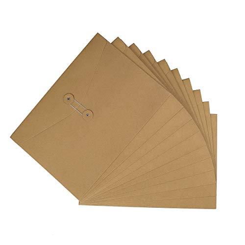 Carpetas de archivos de sobres de papel Kraft A4 Documentos en cartera de papel, Cierre de cadena y botón, Bolsa de organizador de bolsillos de proyecto 10PCS para Oficina Colegio, marrón