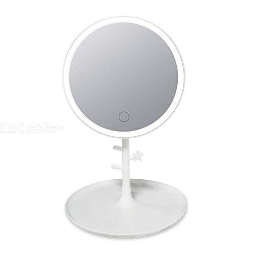 VHGYU make-up spiegel LED verlichte make-up spiegel 120° draaibare scheerspiegel met sieraden opslag ophangsysteem tray make-up spiegel